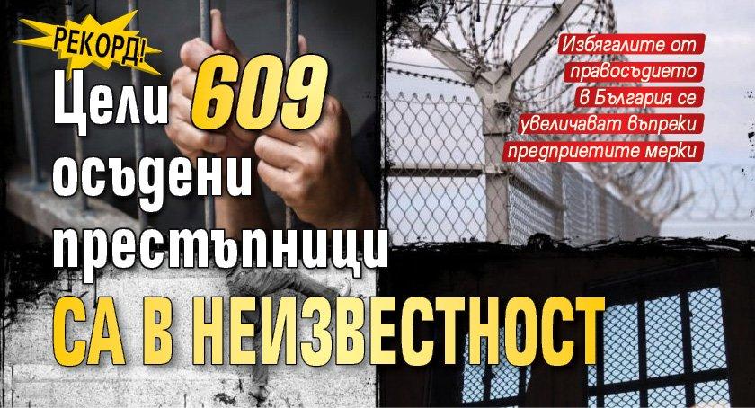 Рекорд! Цели 609 осъдени престъпници са в неизвестност