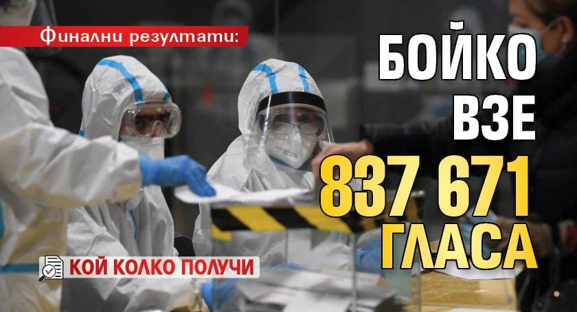 Финални резултати: Бойко взе 837 671 гласа (кой колко получи)