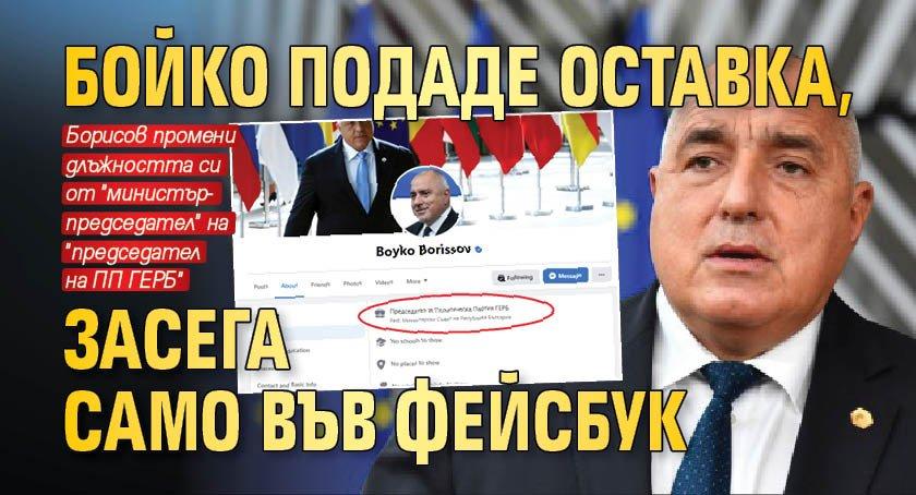 Бойко подаде оставка, засега само във фейсбук