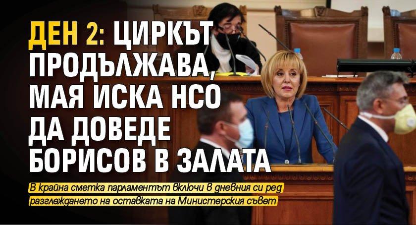 ДЕН 2: Циркът продължава, Мая иска НСО да доведе Борисов в залата