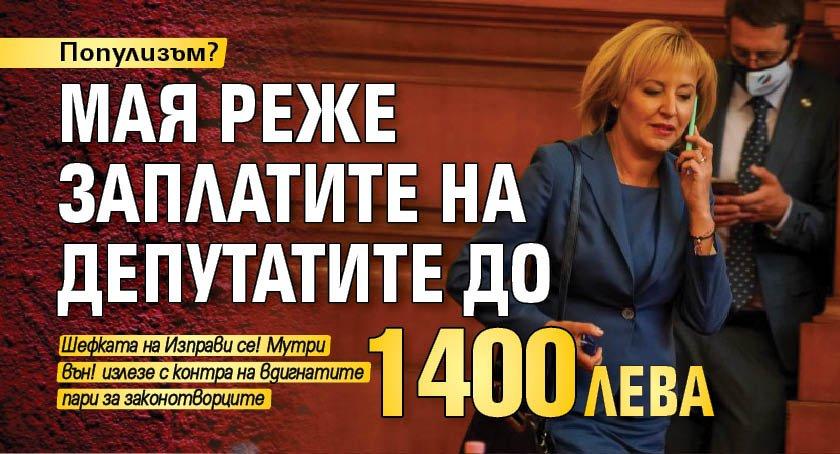 Популизъм? Мая реже заплатите на депутатите до 1400 лева