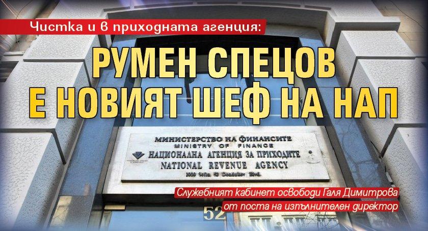 Чистка и в приходната агенция: Румен Спецов е новият шеф на НАП