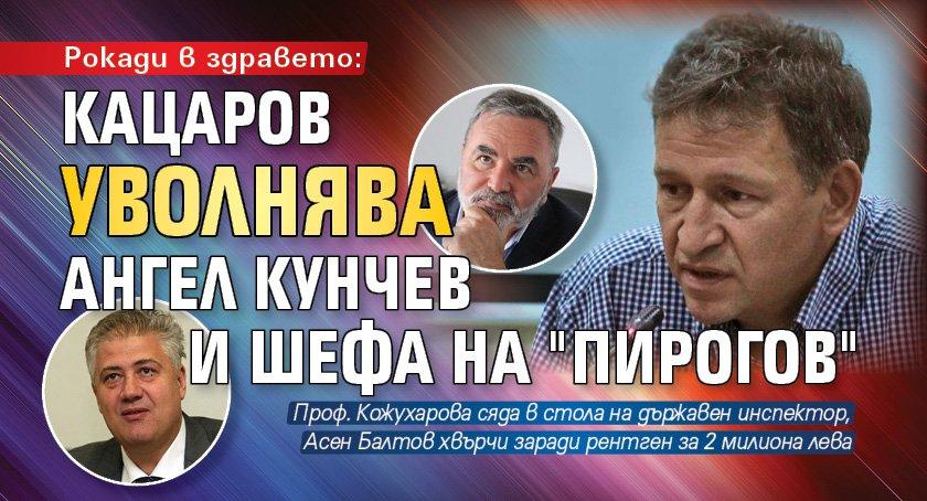 """Рокади в здравето: Кацаров уволнява Ангел Кунчев и шефа на """"Пирогов"""""""