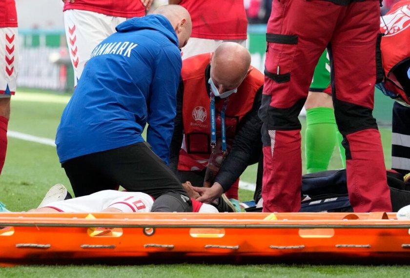 Кристиан Ериксен е в стабилно състояние, мачът продължава (ОБНОВЕНА)