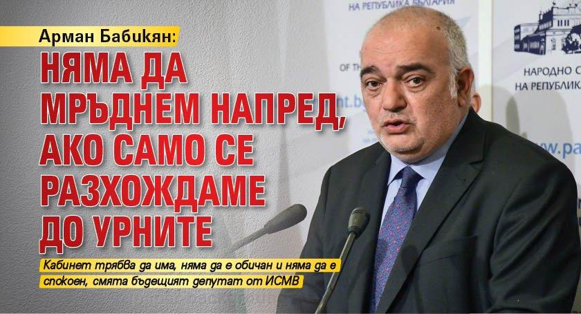 Арман Бабикян: Няма да мръднем напред, ако само се разхождаме до урните