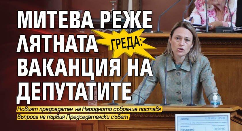 Греда: Митева реже лятната ваканция на депутатите