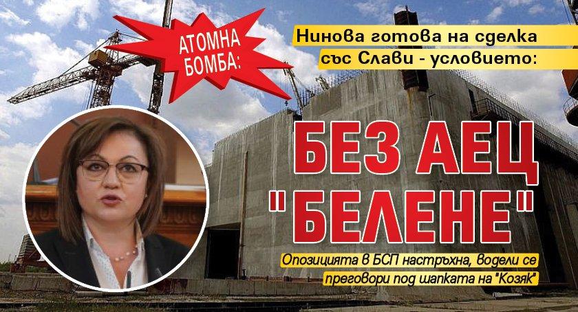 "Атомна бомба: Нинова готова на сделка със Слави - условието: Без АЕЦ ""Белене"""