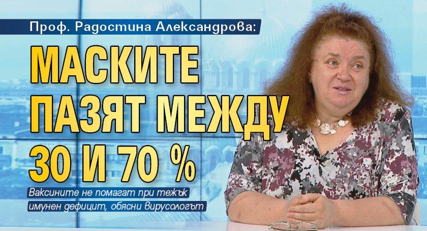 Проф. Радостина Александрова: Маските пазят между 30 и 70 %