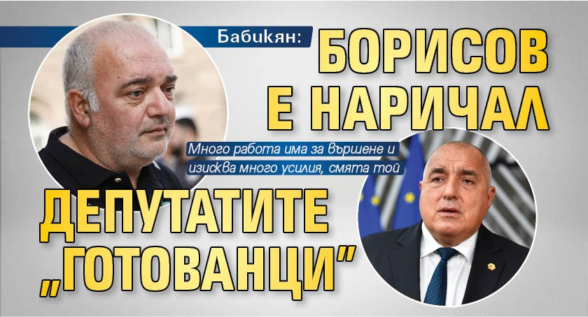 """Бабикян: Борисов е наричал депутатите """"готованци"""""""