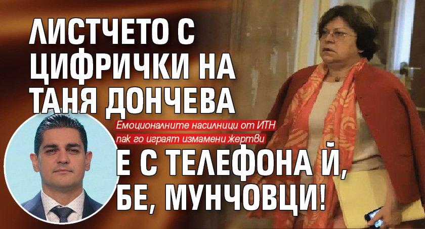 Листчето с цифрички на Таня Дончева е с телефона й, бе, мунчовци!