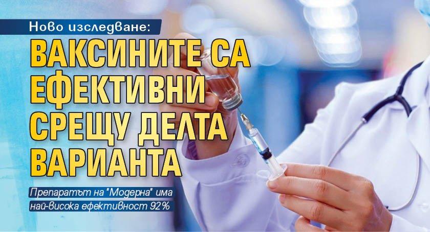 Ново изследване: Ваксините са ефективни срещу Делта варианта
