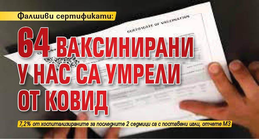 Фалшиви сертификати: 64 ваксинирани у нас са умрели от ковид