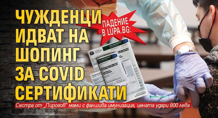 Падение в Lupa.bg: Чужденци идват на шопинг за Covid сертификати