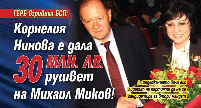 Корнелия Нинова дала 30 млн. лв. рушвет на Михаил Миков?