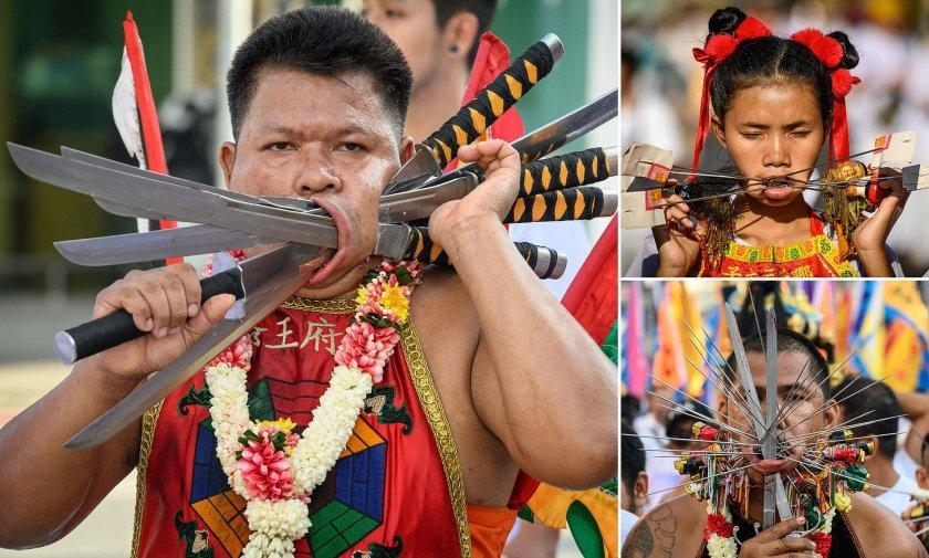 Даоисти се осакатяват брутално на фестивал в Тайланд (СНИМКИ)