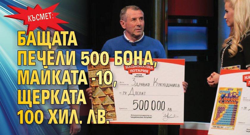 Късмет: Бащата печели 500 бона, майката - 10, щерката 100 хил. лв.