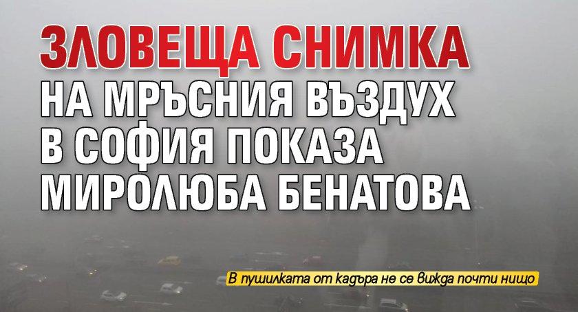 Зловеща снимка на мръсния въздух в София показа Миролюба Бенатова