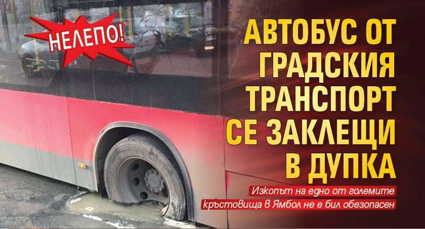 Нелепо! Автобус от градския транспорт се заклещи в дупка
