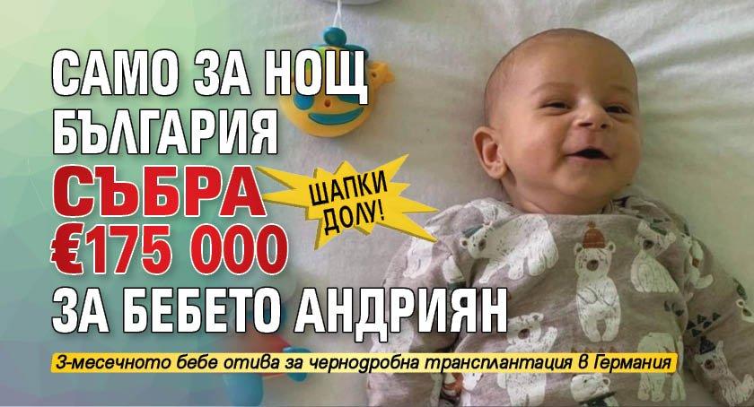 Шапки долу! Само за нощ България събра €175 000 за бебето Андриян