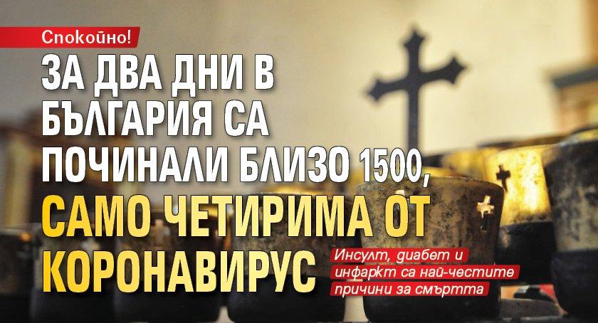 Спокойно! За два дни в България са починали близо 1500, само четирима от коронавирус