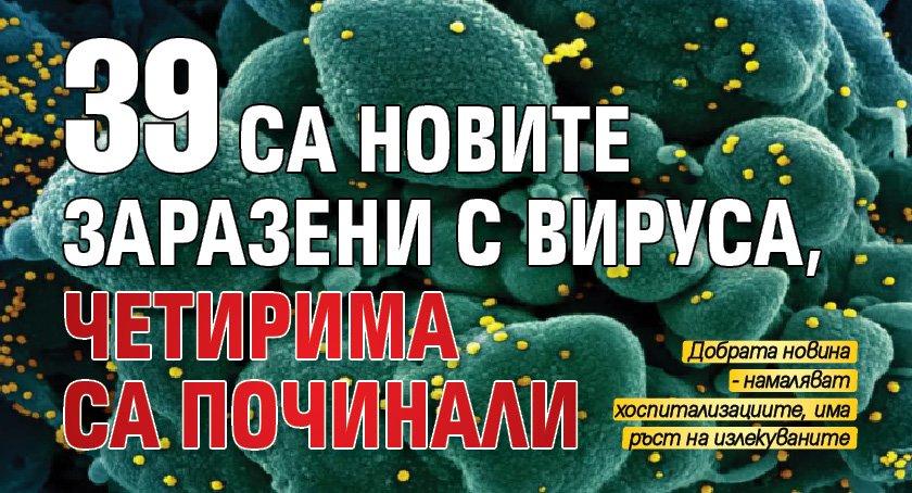 39 са новите заразени с вируса, четирима са починали