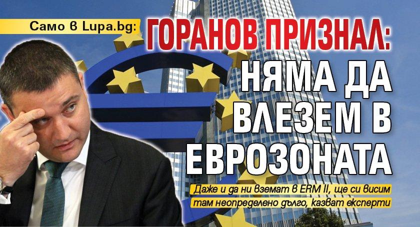 Само в Lupa.bg: Горанов признал: Няма да влезем в еврозоната