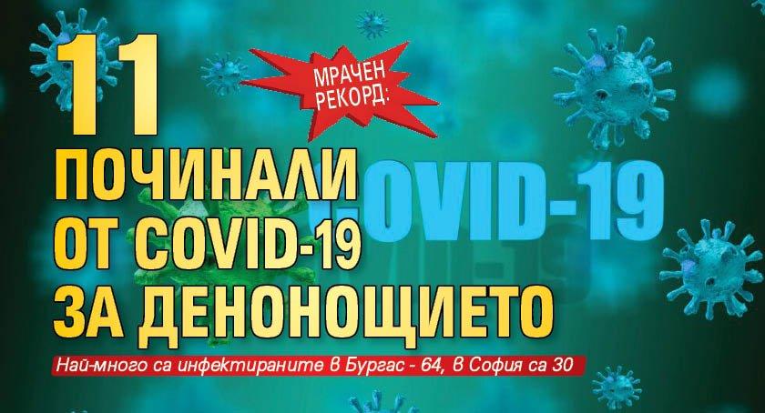 Мрачен рекорд: 11 починали от Covid-19 за денонощието