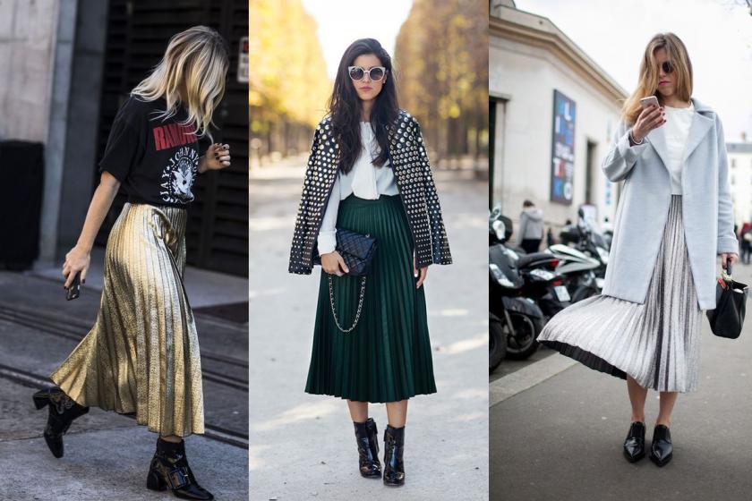 Плисирана миди пола е най-женственият стил на тази есен