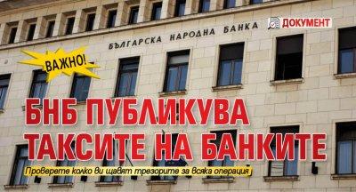 ВАЖНО! БНБ публикува таксите на банките (ДОКУМЕНТ)