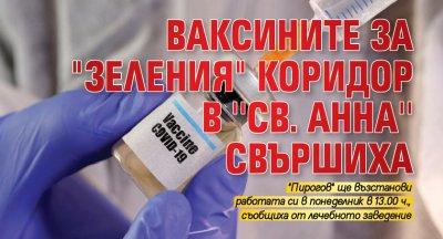 """Ваксините за """"зеления"""" коридор в ''Св. Анна'' свършиха"""