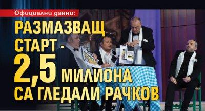 Официални данни: Размазващ старт - 2,5 милиона са гледали Рачков