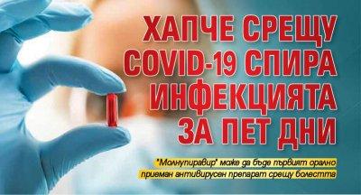Хапче срещу COVID-19 спира инфекцията за пет дни