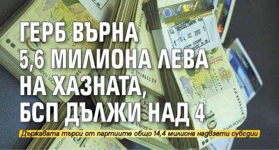 ГЕРБ върна 5,6 милиона лева на хазната, БСП дължи над 4