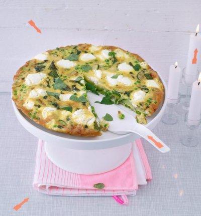 Фритата с тиквички, грах и сирене