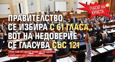 Гласът на юриста: Правителство се избира с 61 гласа, вот на недоверие се гласува със 121