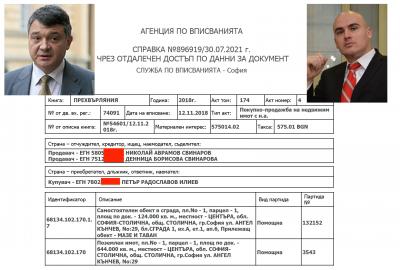 Кандидат-премиерът Петър Илиев купил за 500 бона апартамента на Николай Свинаров