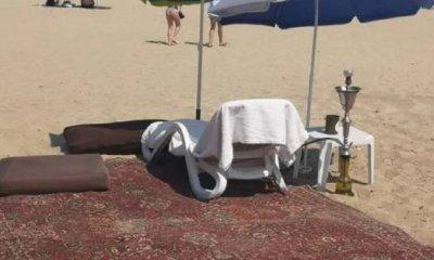 УНИКУМ: Шейх с килим на плажа в Слънчев бряг