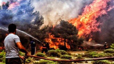 Гръцката армия в битка с пожарите