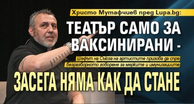 Христо Мутафчиев пред Lupa.bg: Театър само за ваксинирани - засега няма как да стане
