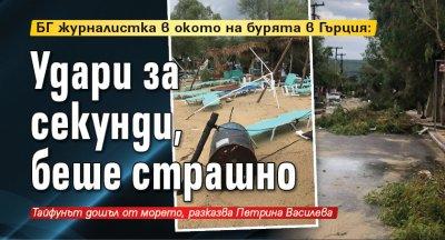 Журналистка в окото на бурята в Гърция: Удари за секунди, беше страшно