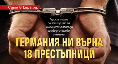 Само в Lupa.bg: Германия ни върна 18 престъпници