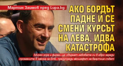 Мартин Заимов пред Lupa.bg : Ако бордът падне и се смени курсът на лева, идва катастрофа