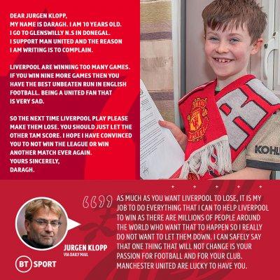 Малчуган от Юнайтед моли Ливърпул да не бие повече, Клоп му написа трогателно писмо