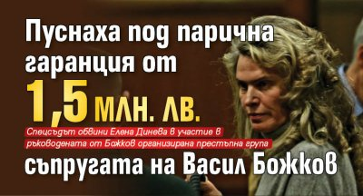 Пуснаха под парична гаранция от 1,5 млн. лв.  съпругата на Васил Божков