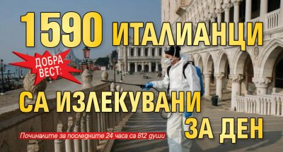 Добра вест: 1590 италианци са излекувани за ден