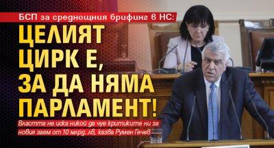 БСП за среднощния брифинг в НС: Целият цирк е, за да няма парламент!