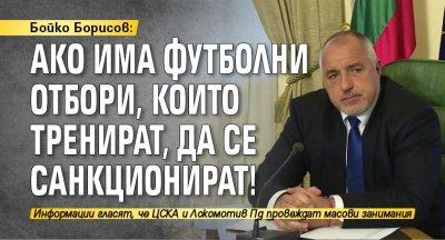 Бойко Борисов: Ако има футболни отбори, които тренират, да се санкционират!