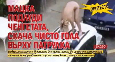 Протест! Мацка подлуди ченгетата, скача чисто гола върху патрулка (ВИДЕО)