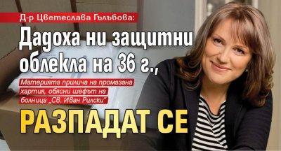 Д-р Цветеслава Гълъбова: Дадоха ни защитни облекла на 36 г., разпадат се
