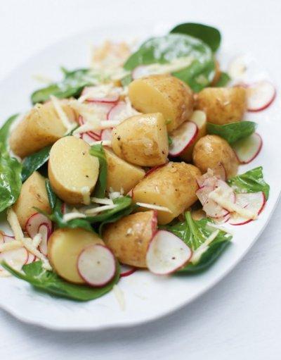 Салата с картофки, репички и спанак